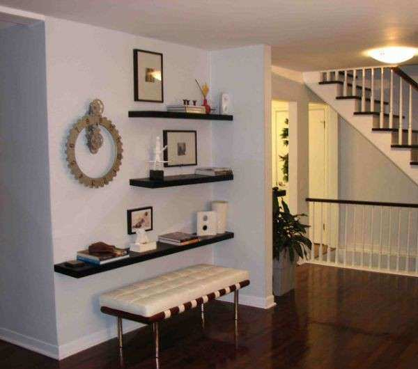 Simple functional and space saving floating wall shelving
