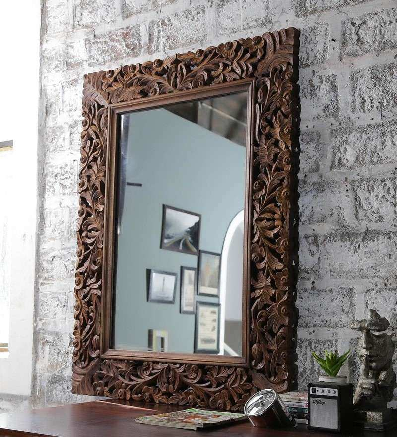 Buy Brown Solid Wood Carved Framed Decorative Mirror by