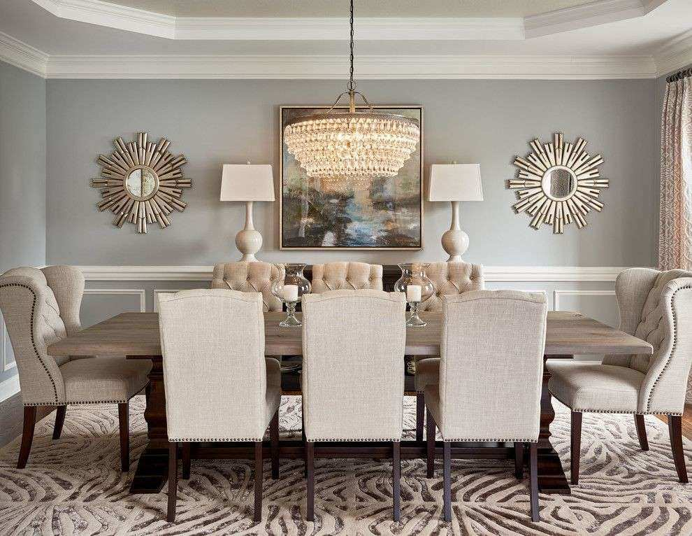 Round mirror in dining room dining room transitional