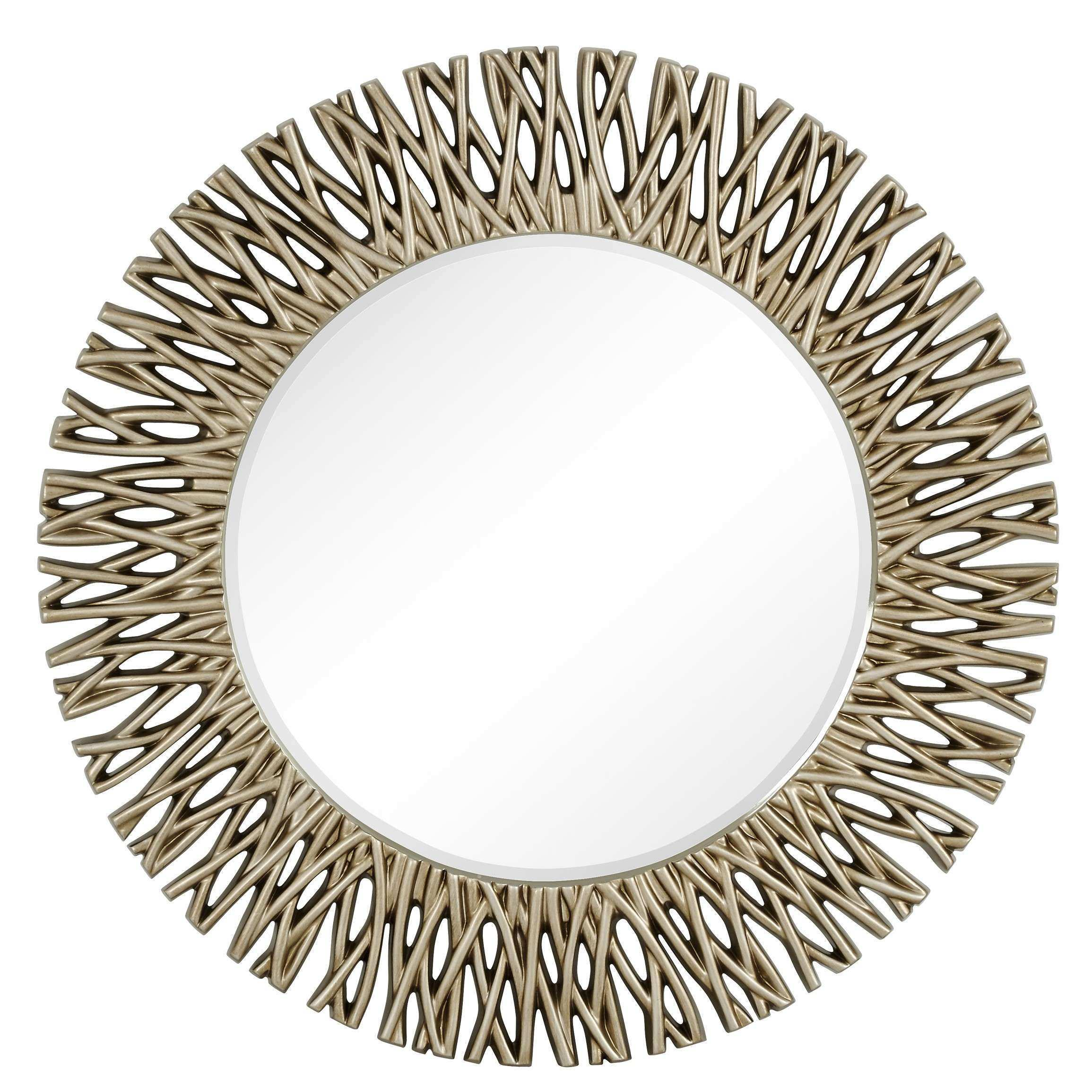 Round Antique Silver Decorative Beveled Glass Wall