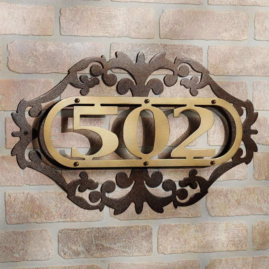 Classic Iron Plate House Number Ideas At Brick Wall Decor