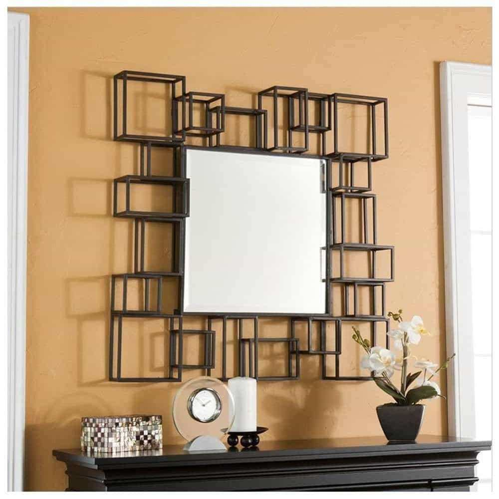 Mirror With Decorative Frame For Beautiful Bedroom Idea