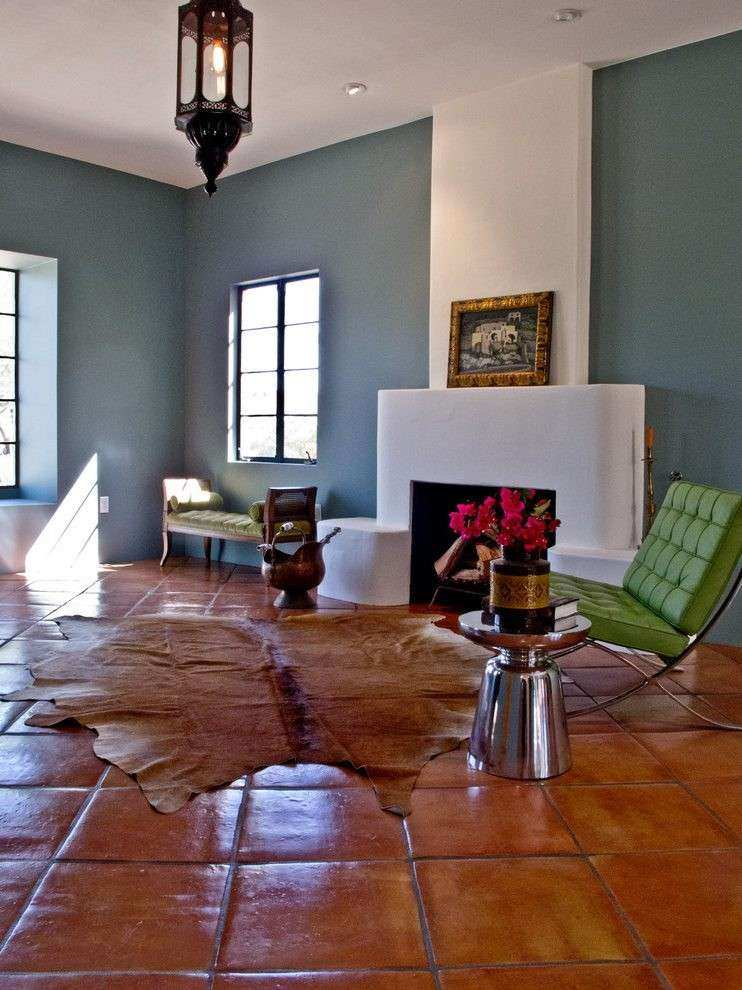 Terracotta Floor Tile Living Room Eclectic with Tin