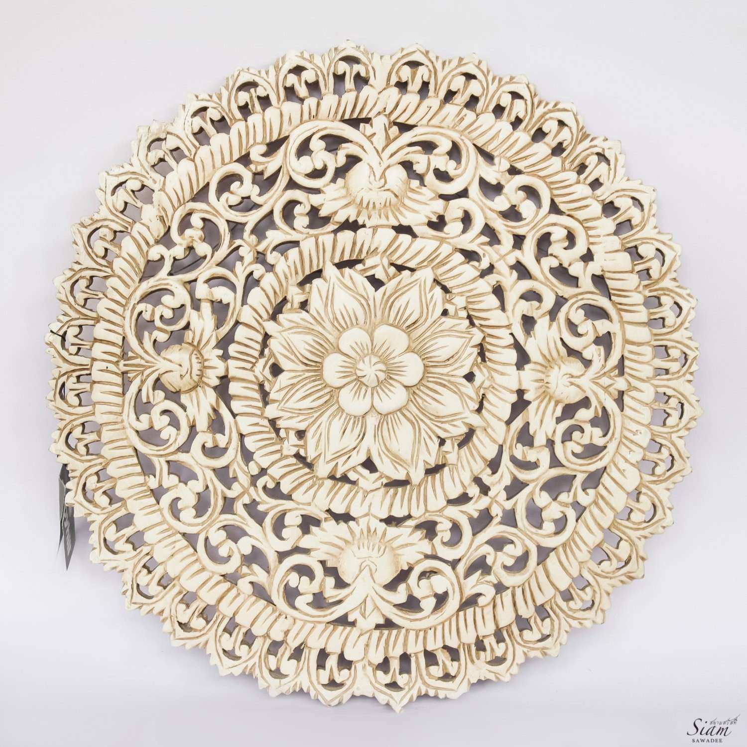 White Floral Wood Wall Art Panel Indian Wood by SiamSawadee