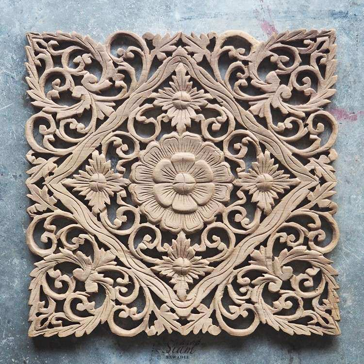 Lotus Carved Wood Wall Art Panel from Bali Siam Sawadee
