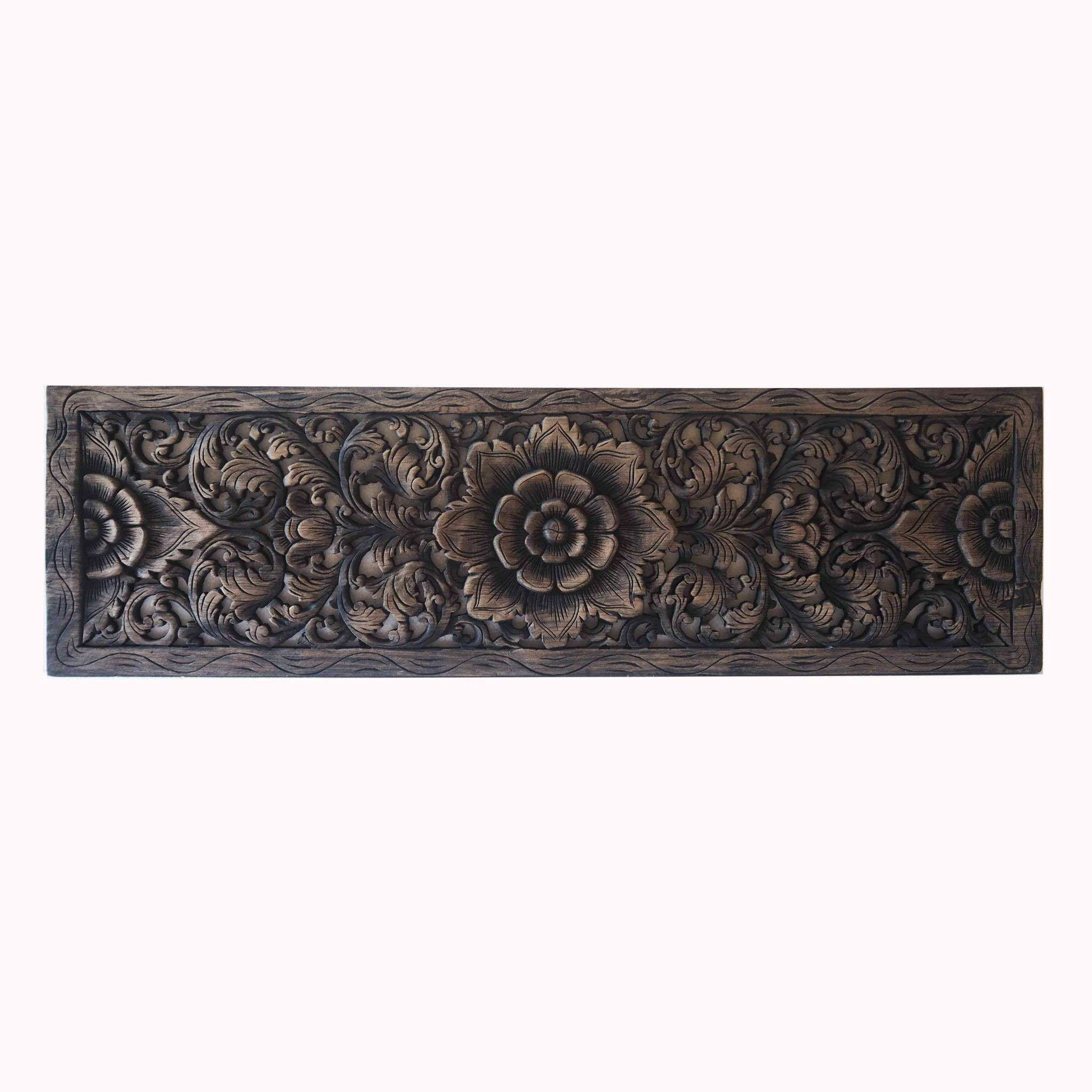 Thai Lotus Wood Carving Wall Art Panel Siam Sawadee