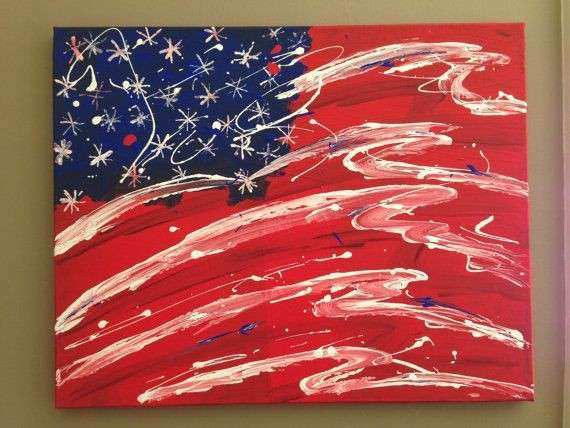 American Flag Canvas Wall Art Painting by DreamerCreations