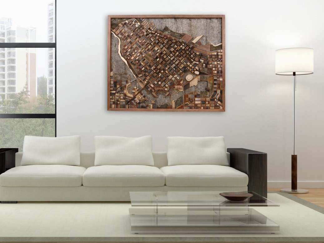 Vancouver cityscape wood wall art made of old reclaimed barn