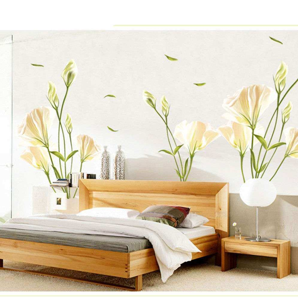 Living Room TV Wall Sofa Background Lily Flower Wall