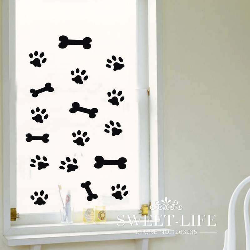 free shipping Pet dog Feet animals wall stickers home