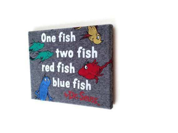 T shirt Wall Art on Canvas Wooden Frame Dr Seuss 1 Fish 2