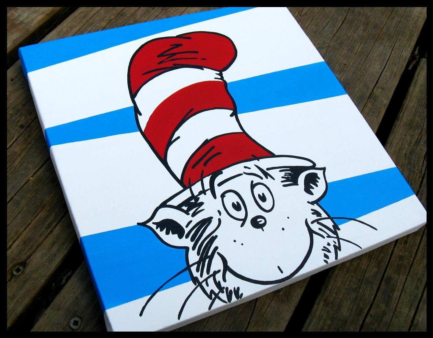 Cat In The Hat 12x12 Dr Seuss Canvas Wall Art by BlissfulBrush