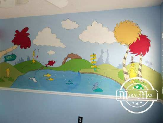 Dr Seuss Wall Art Best Of Murals Dr Seuss Cat In the Hat and Lorax ...