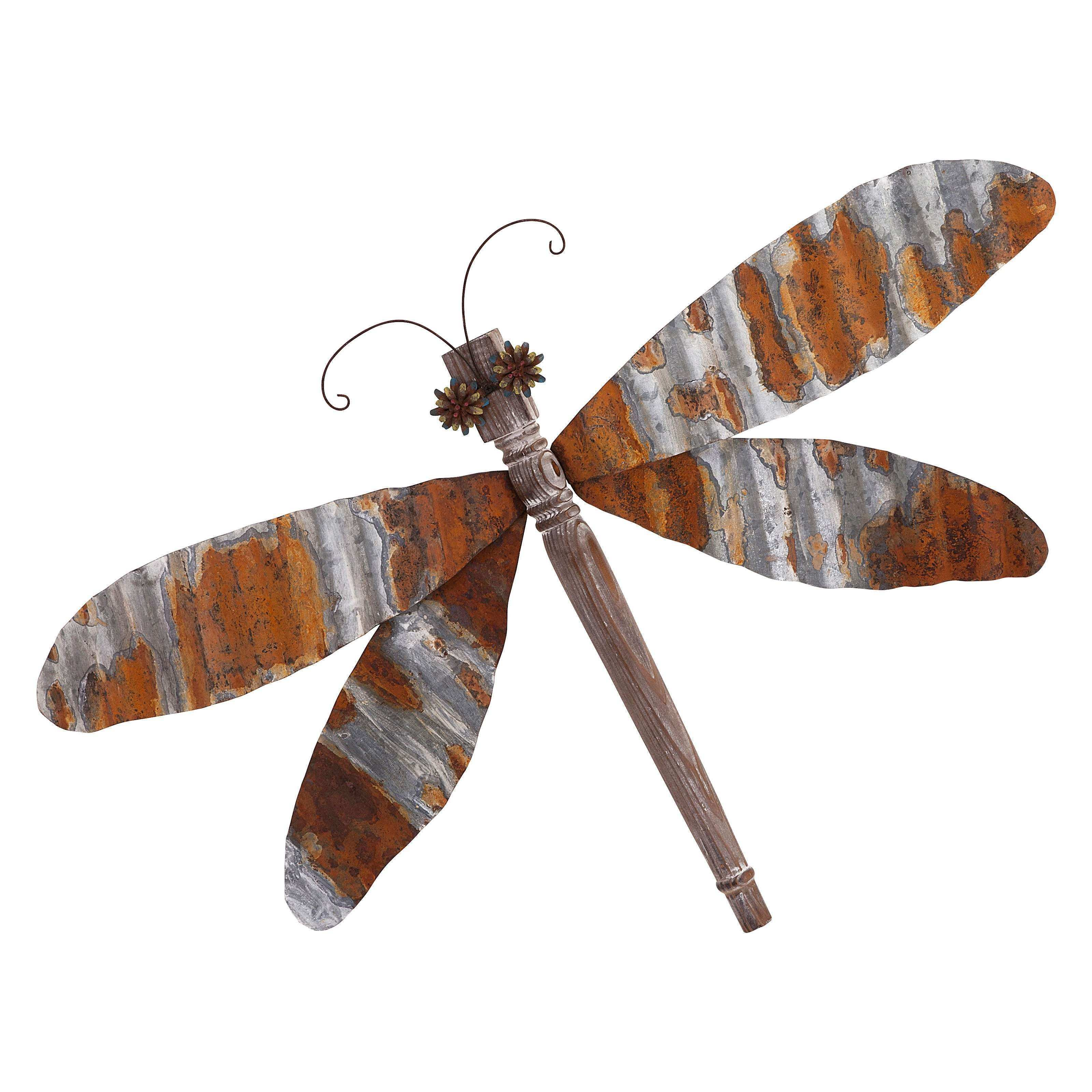 IMAX Corregated Dragonfly Wall Decor 37W x 26H in