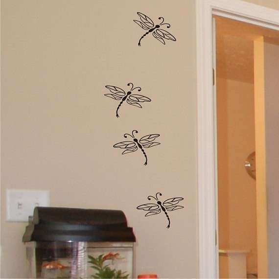 Items similar to Dragonflies vinyl wall art decal