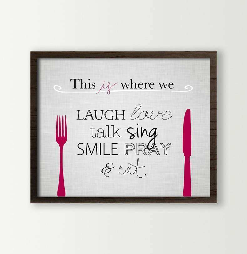 Eat Wall Decor Awesome Sign Kitchen Fork And Knife Prints
