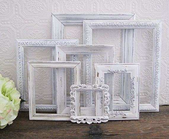 Empty Picture Frame Set 7 Antique White Shabby Chic