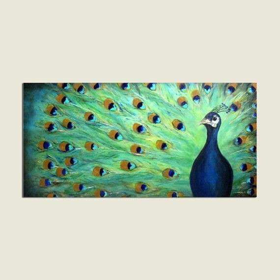 Abstract Realism Peacock Original Painting Extra