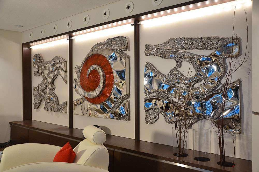 Extra Large Metal Wall Art New Wall Art Design Wall Art Sculpture Silver Blue Red Extra