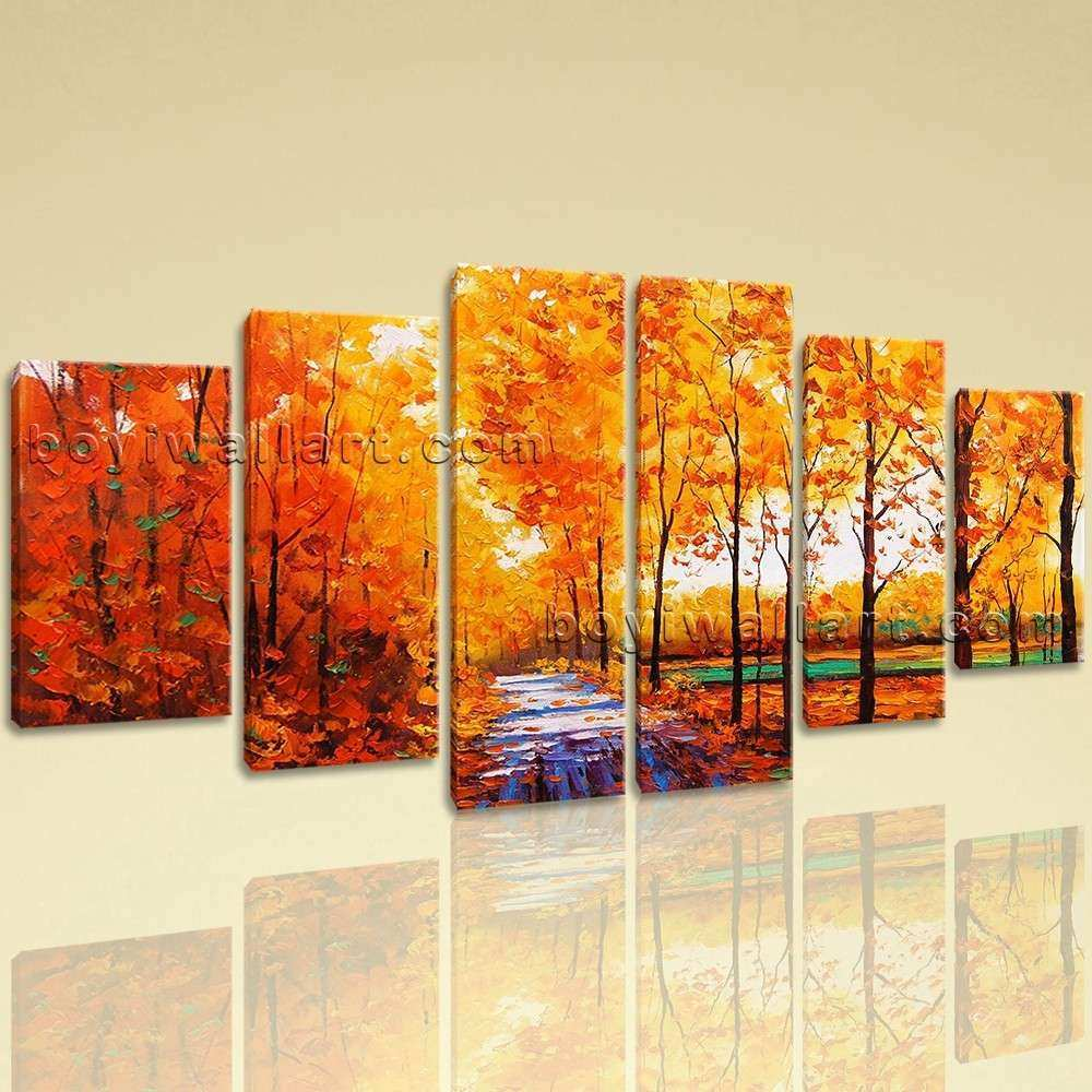 Extra Autumn River Forest Wall Art Dining Room