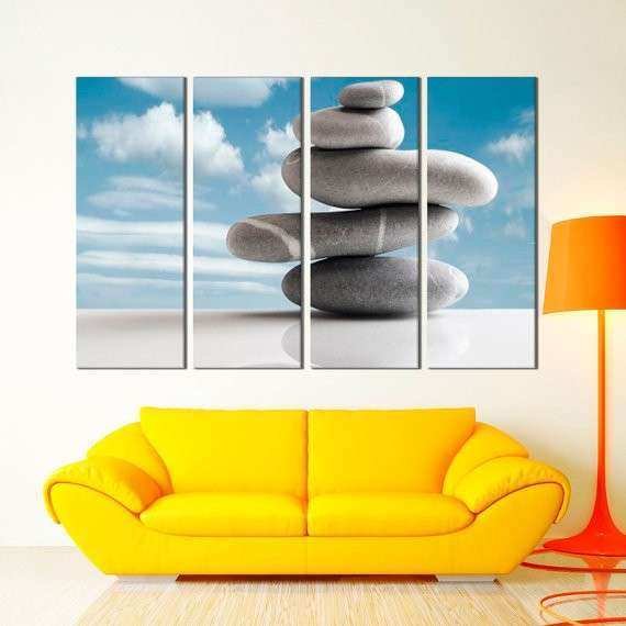 Extra Wall Art Wgite and Gray Zen Stones with Reflection