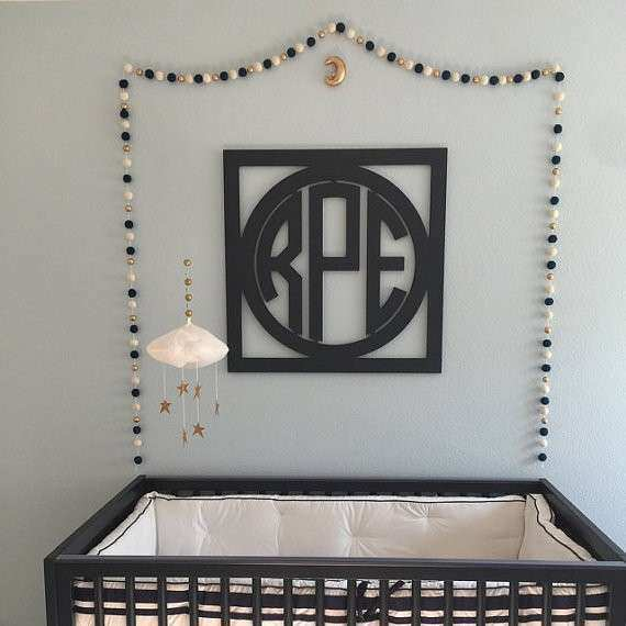 EXTRA LARGE Wooden Monogram Wall Decor Circle Monogram