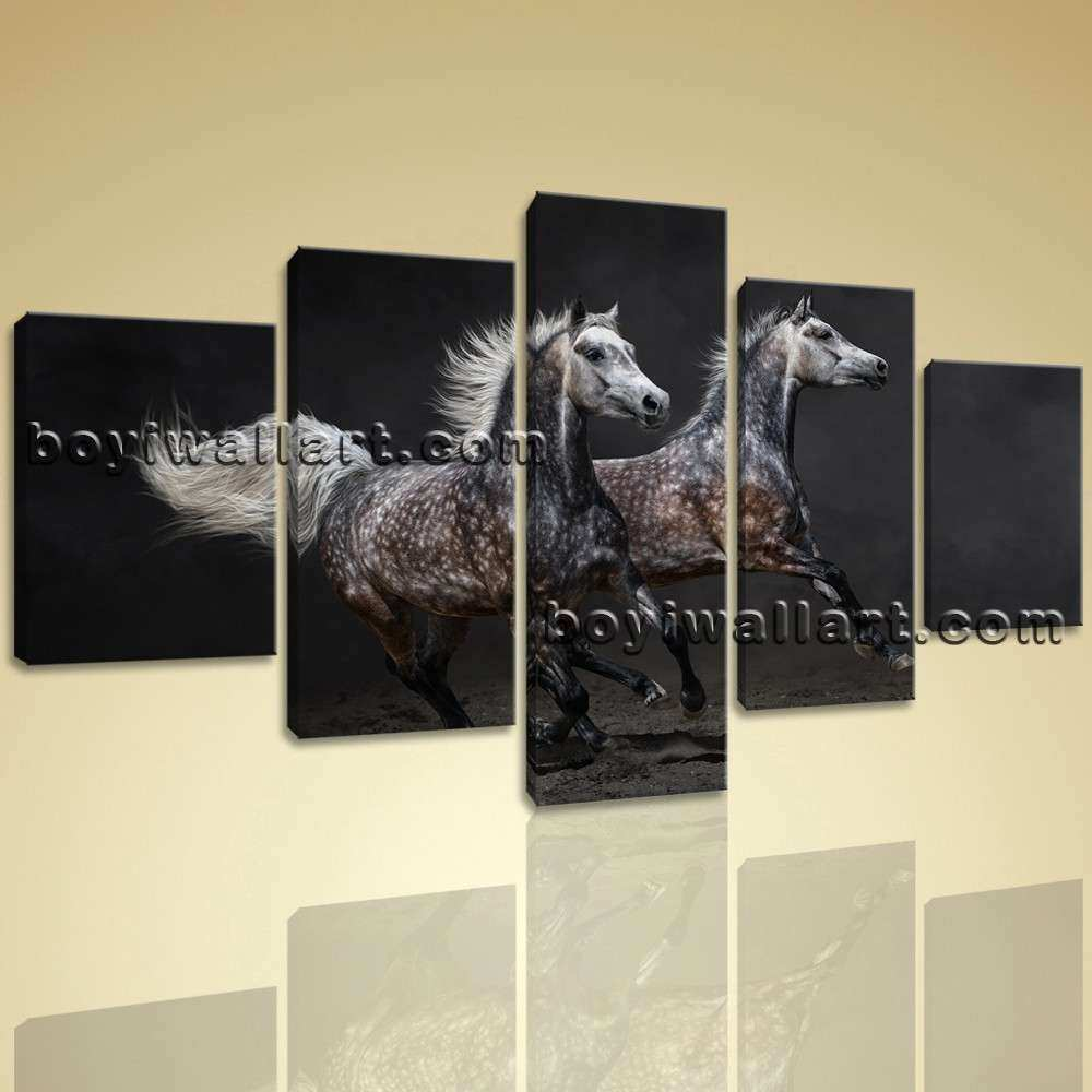 Framed Modern Abstract Wall Art Print Horse Painting