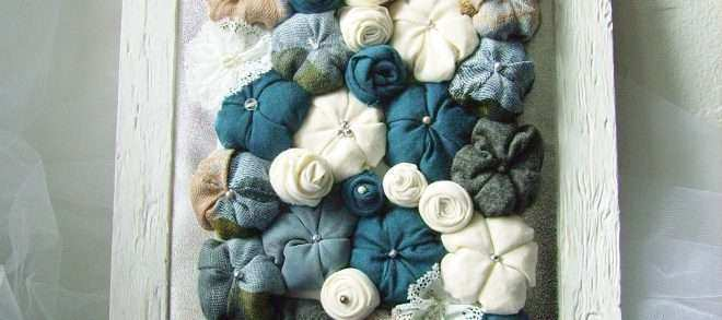Fabric Wall Decor Awesome Fabric Flower Art Shabby Chic Framed 3d Design Home Decor