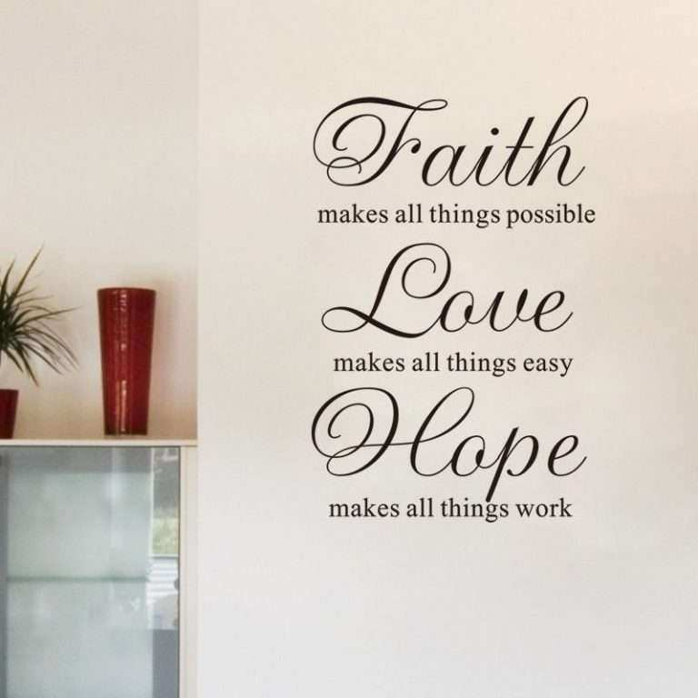 Faith Hope Love Wall Decor Awesome Faith Love Hope Vinyl Art Diy Quote Wall  Sticker Home