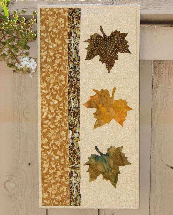 Quilted Wall Hanging Decor with Gold and Brown Batik Leaves