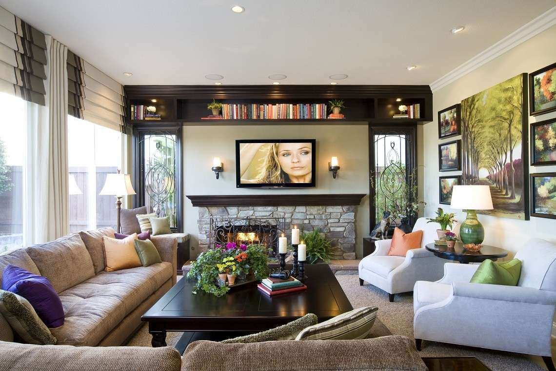 Modern Traditional Family Room Before and After