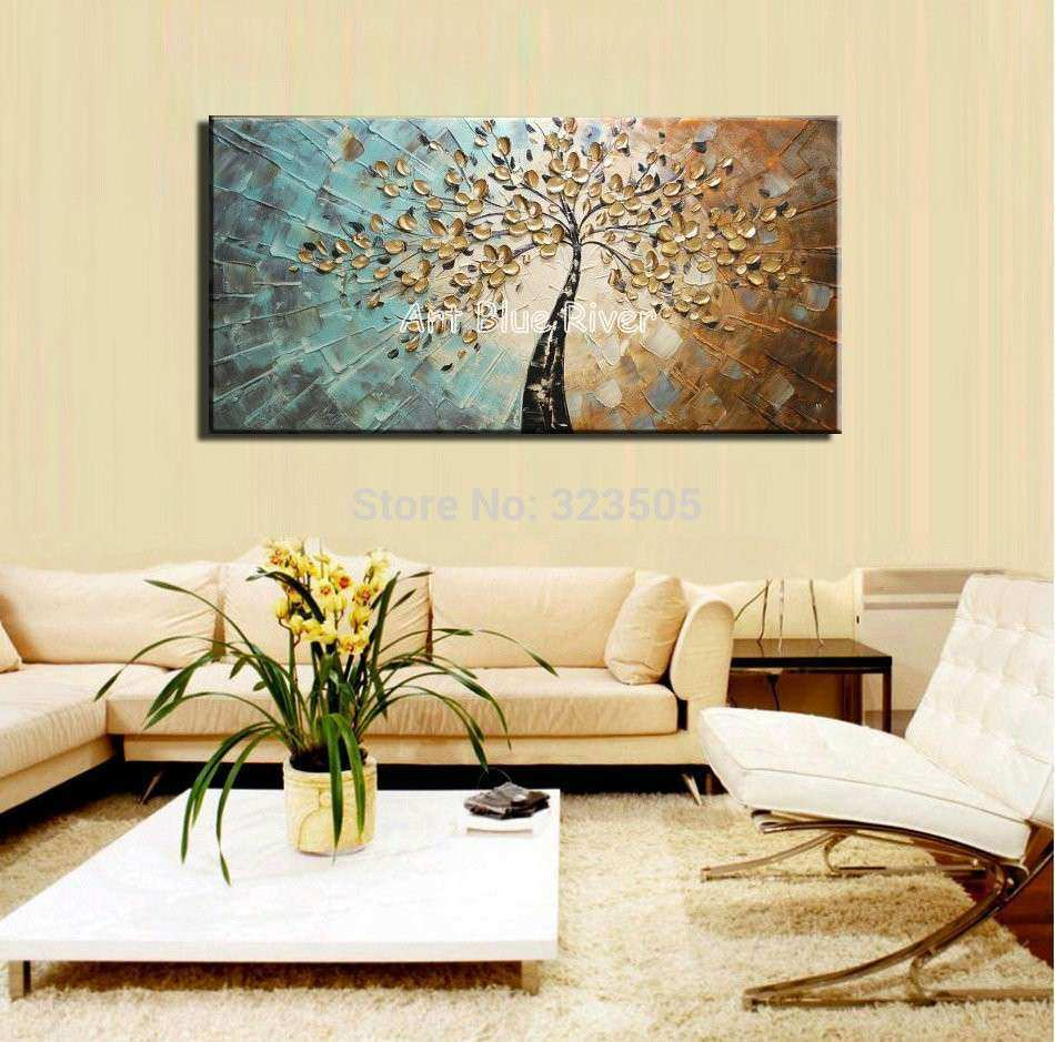 unframed wall store modern painted room hand product canvas living painting panel abstract for decor art
