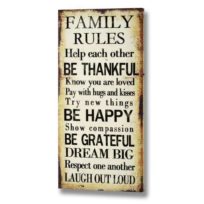 Interior & Decoration Family Rules Canvas For Home