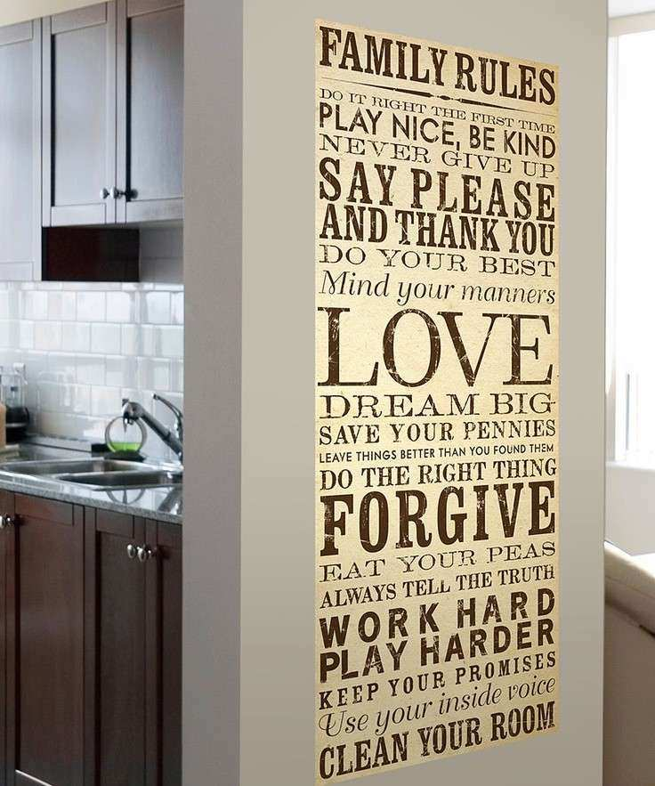 Cream & Brown Family Rules Wall Canvas