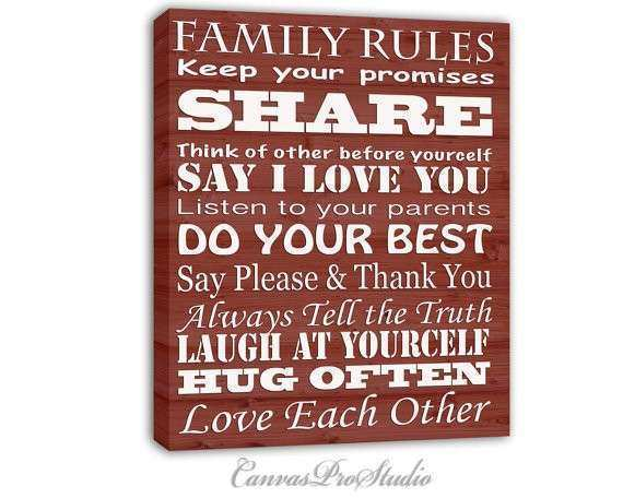 Items similar to Family Rules on canvas Family Rules Sign