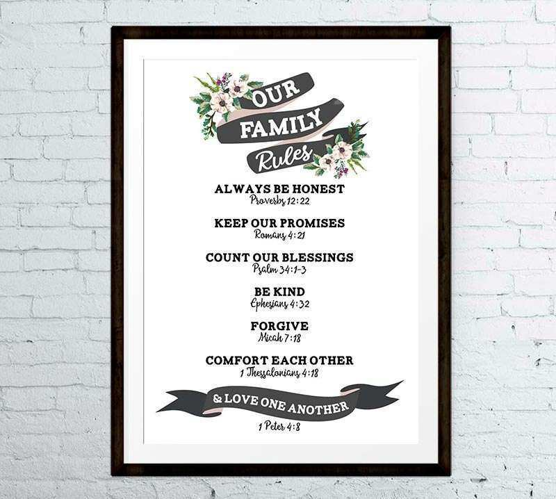 Super Cool Family Rules Wall Art Christian Customized