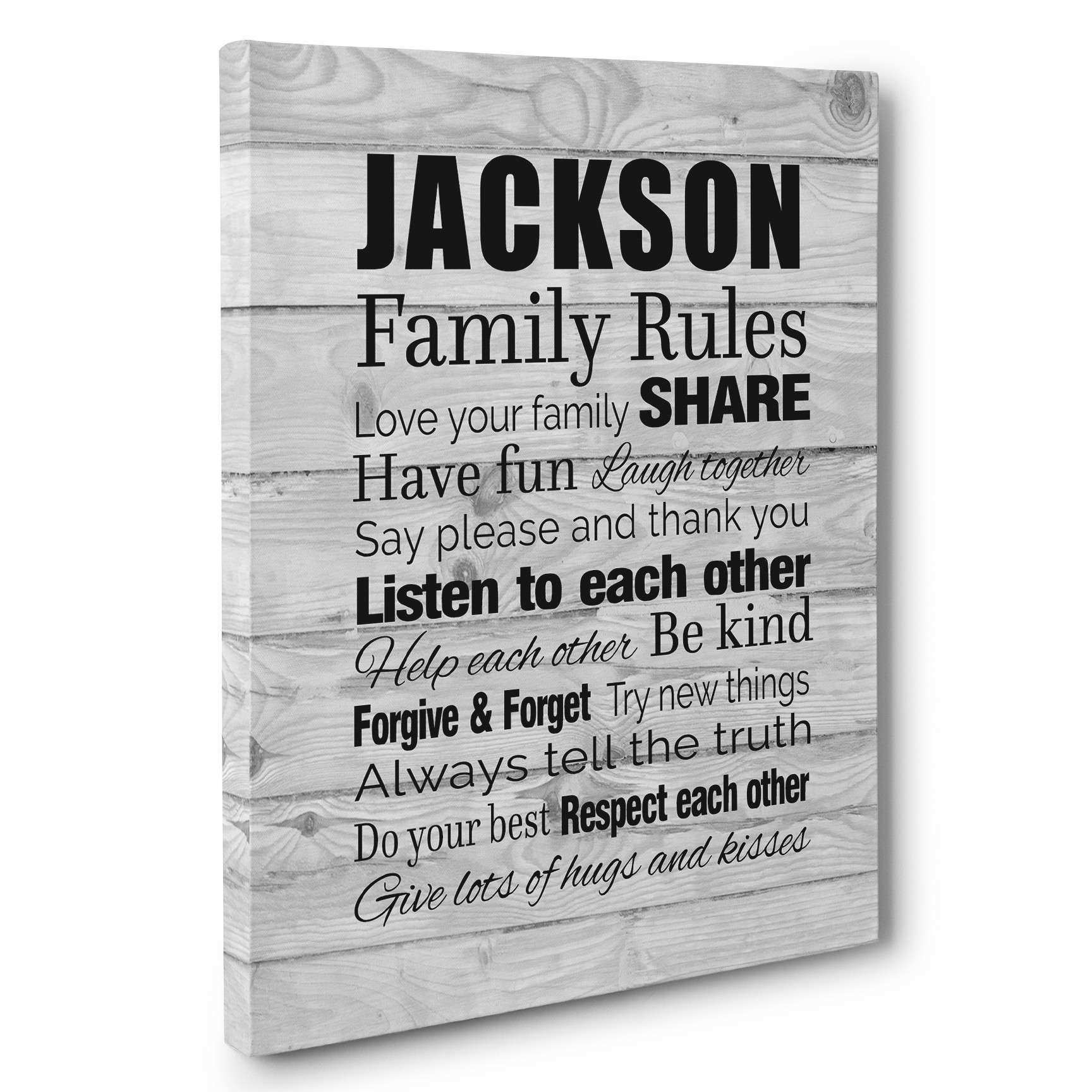 Family Rules Subway Art Typography Personalized Gift 16×20