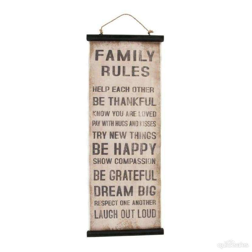 """Family Rules"" Rustic Shabby Chic Wall Hanging Art Canvas"