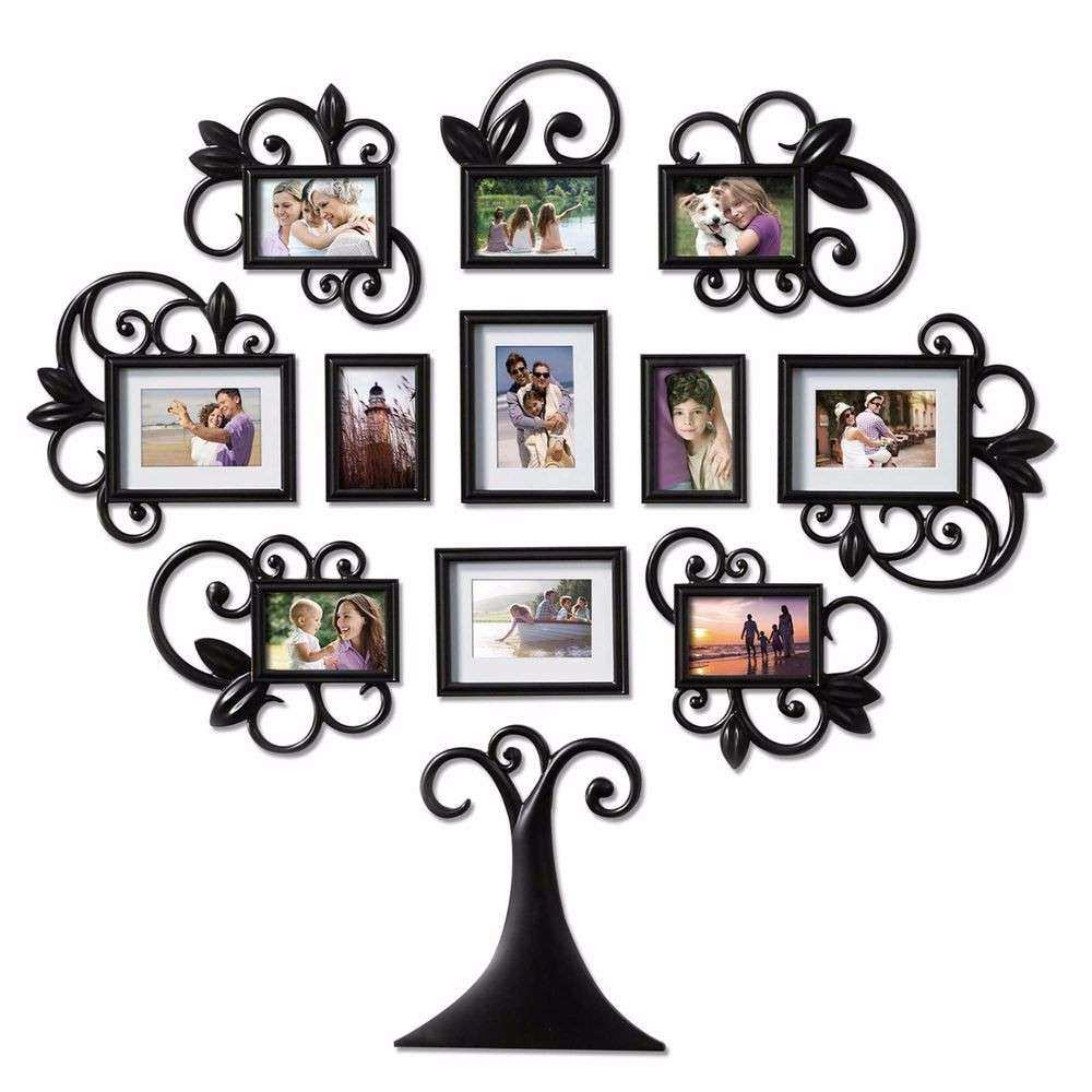 12 Piece Family Tree Picture Frame Collage Set Black