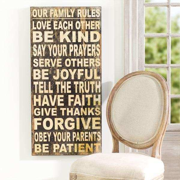 Family Rules Wall Hanging Wall Art Wisteria