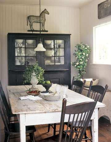 Farmhouse Dining Room Wall Decor Beautiful Prim Country Farmhouse Dining  White Chippy Table U0026amp; ...