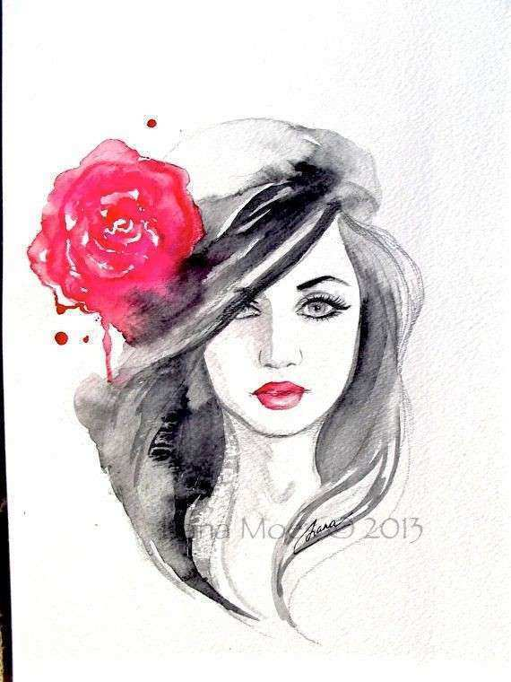 Original Fashion Watercolor Painting Contemporary Modern