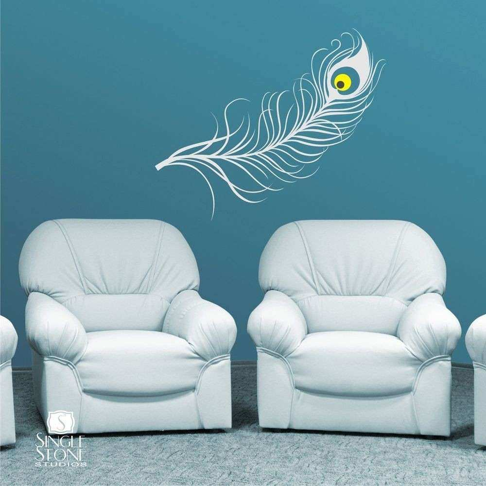 Wall Decal Peacock Feather Vinyl Art Stickers Graphics