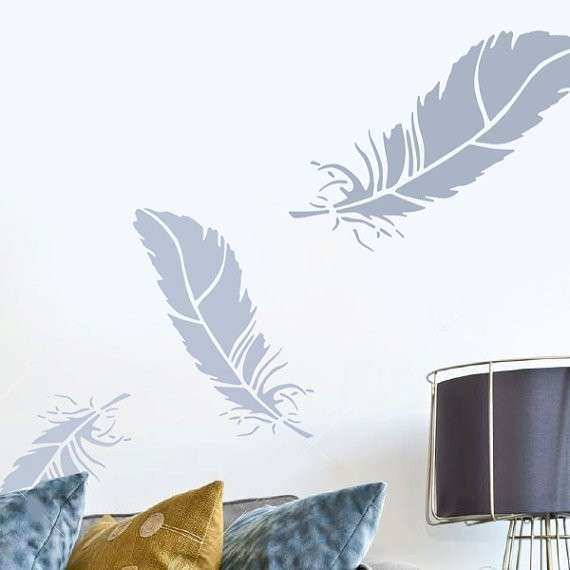Feather stencil wall art stencil home wall décor feather