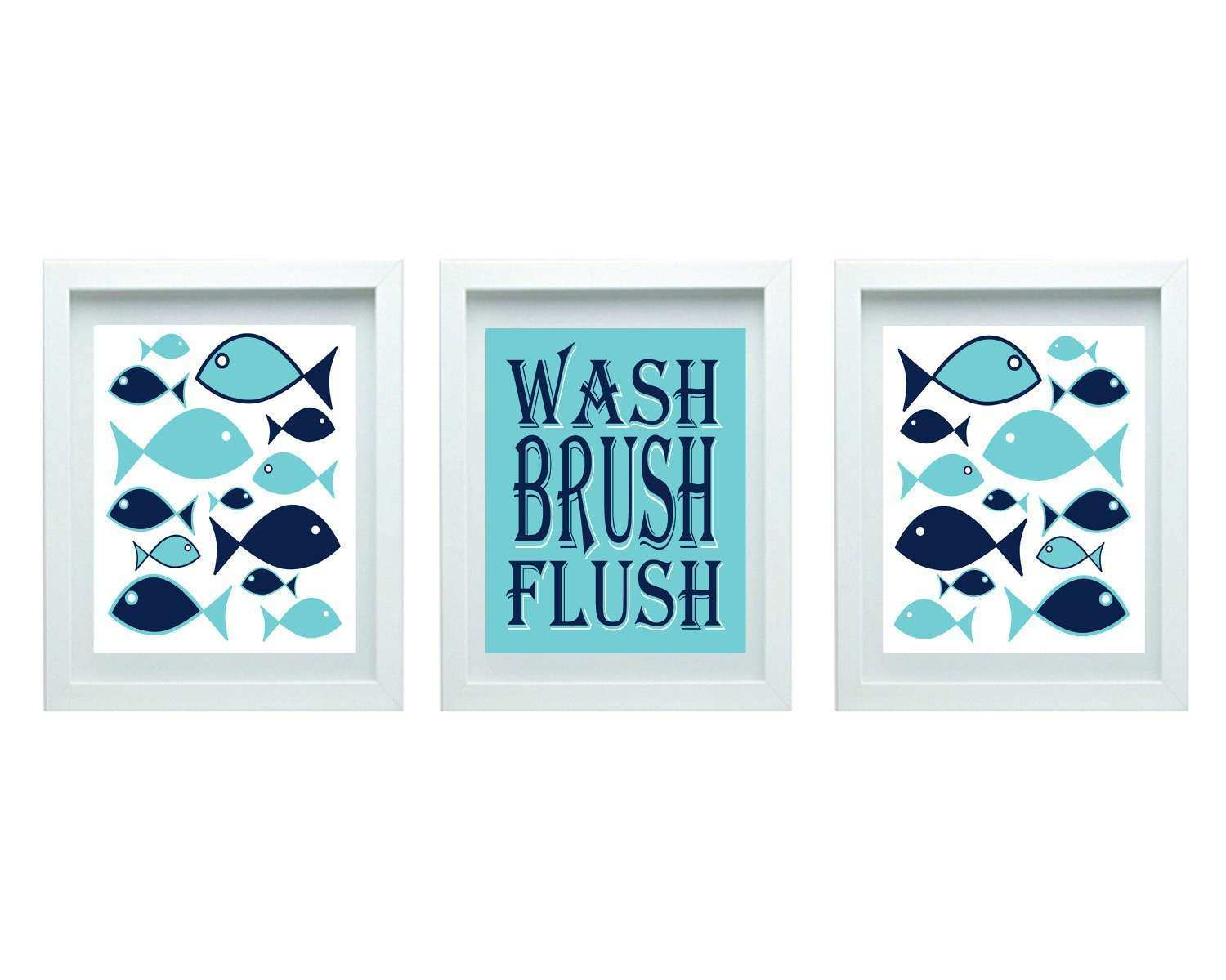 Kids Bathroom Rules Girl or Boy Bathroom Decor Fish Bathroom