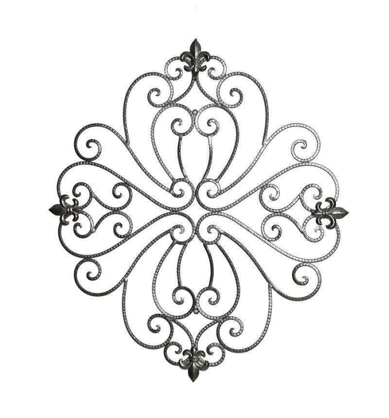 Scroll Fleur De Lis Hanging Metal Wall Art