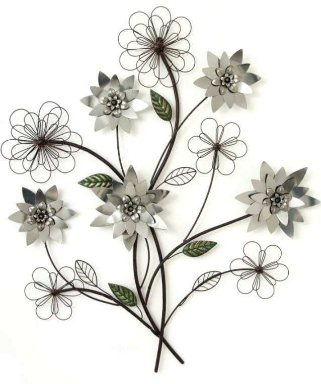 Floral Metal Wall Decor Beautiful Metal Wall Art Silver Flower ...