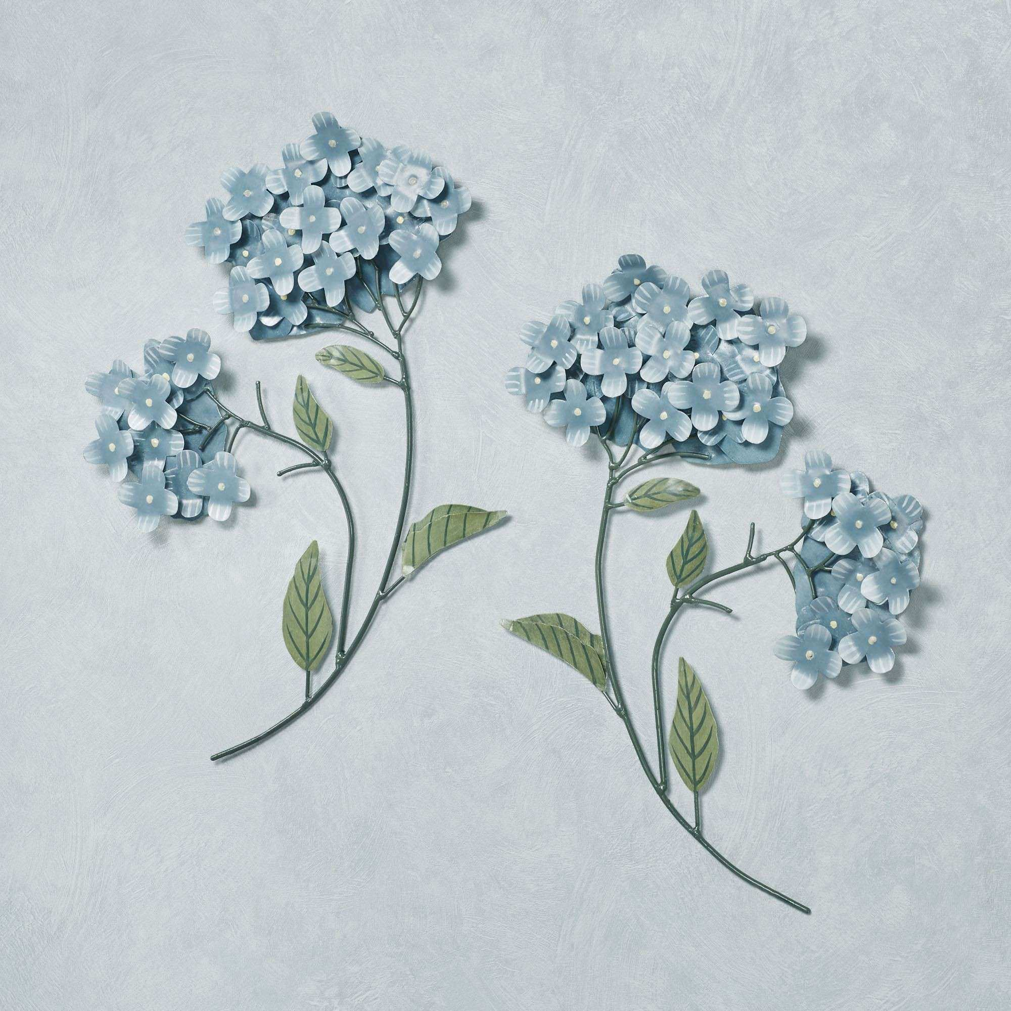 Floral Metal Wall Decor Inspirational Blue Hydrangea Floral Metal Wall Sculpture Set