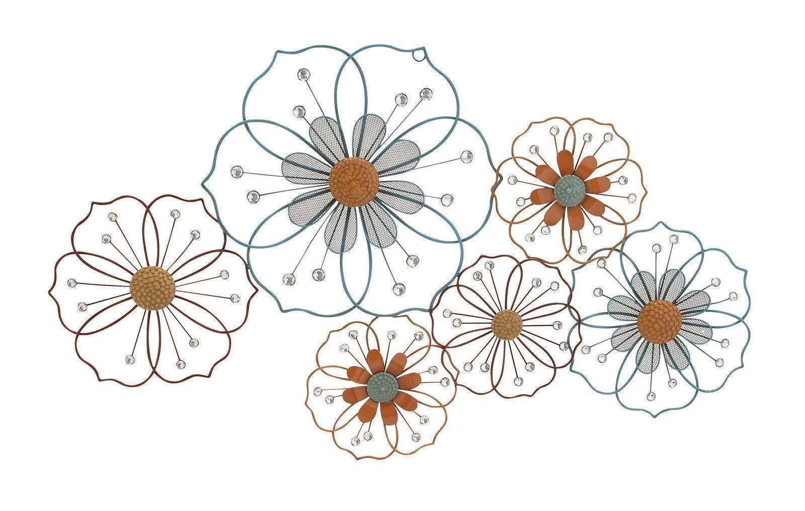 Floral Metal Wall Decor Lovely Modern Colored Jeweled Flower Floral Metal Wall Art