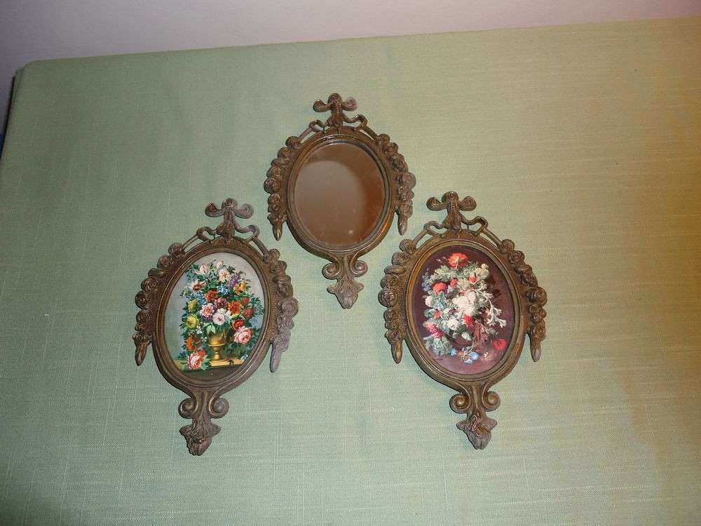 3 Old Metal Mirror Flower Wall Hanging Décor Made In Italy